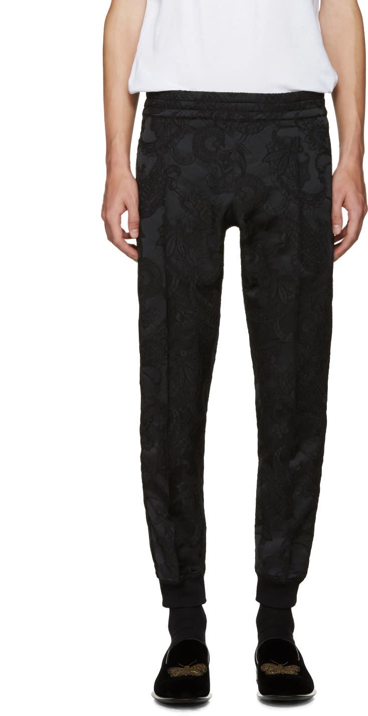 Alexander Mcqueen Black Jacquard Trousers