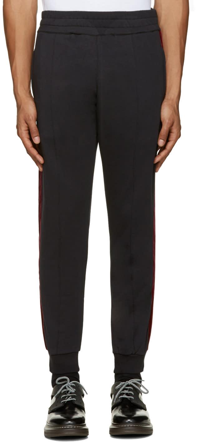 Alexander Mcqueen Black Velvet Trim Lounge Pants
