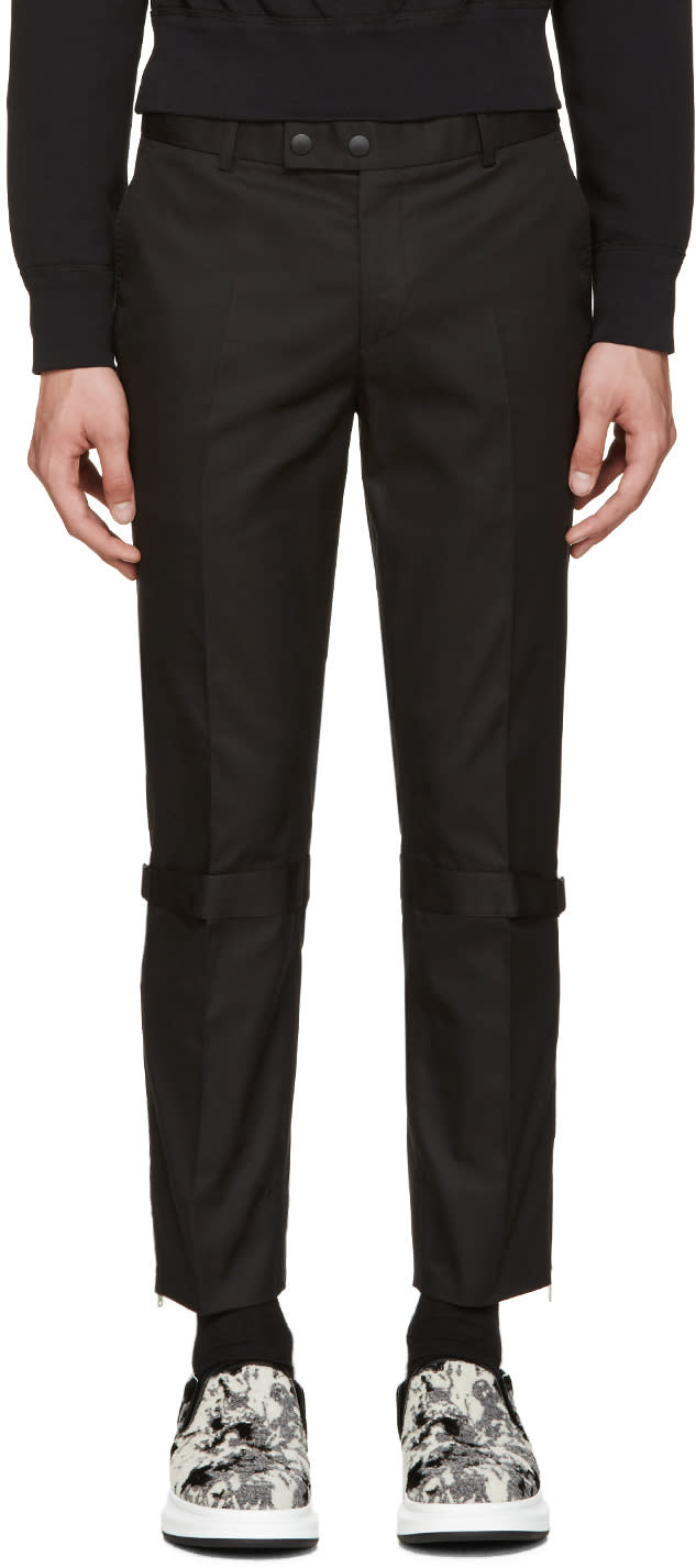Alexander Mcqueen Black Straps and Zips Trousers