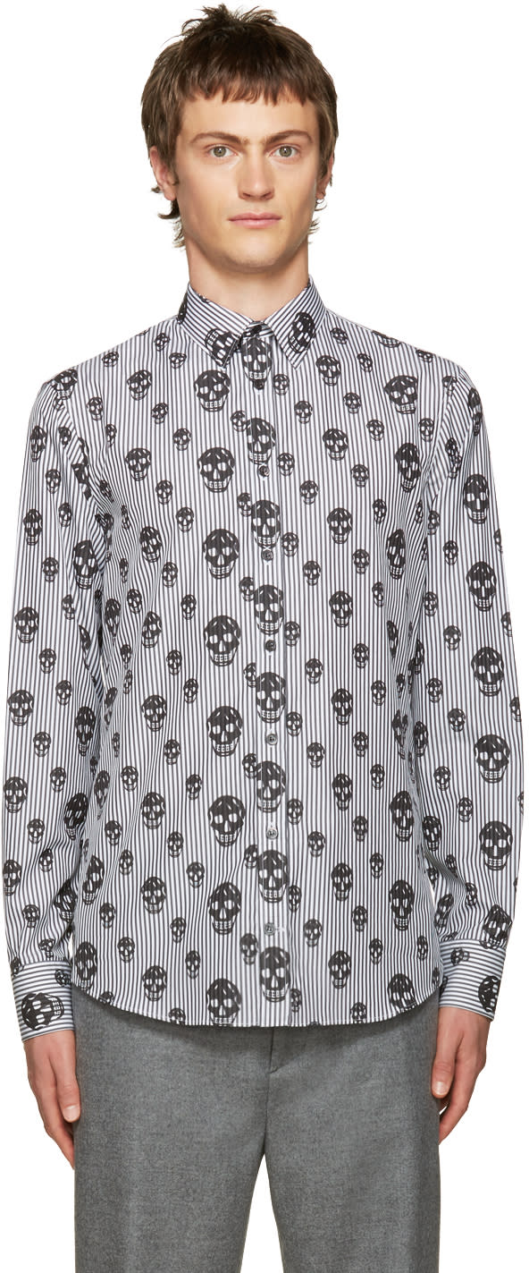 Alexander Mcqueen Black Stripes and Skulls Shirt