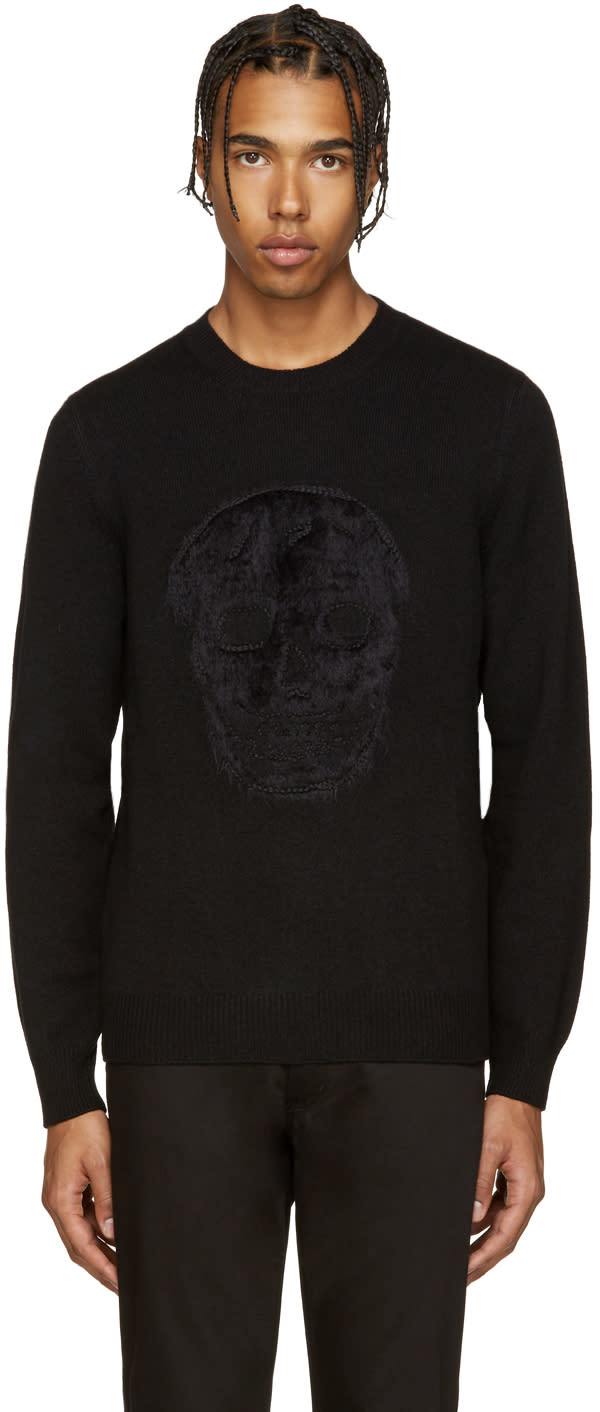 Alexander Mcqueen Black Mohair Skull Sweater