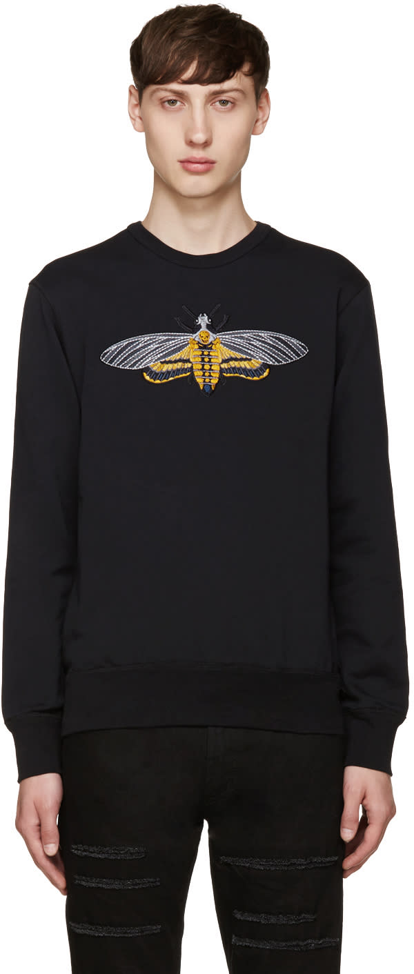 Alexander Mcqueen Black Embroidered Moth Pullover