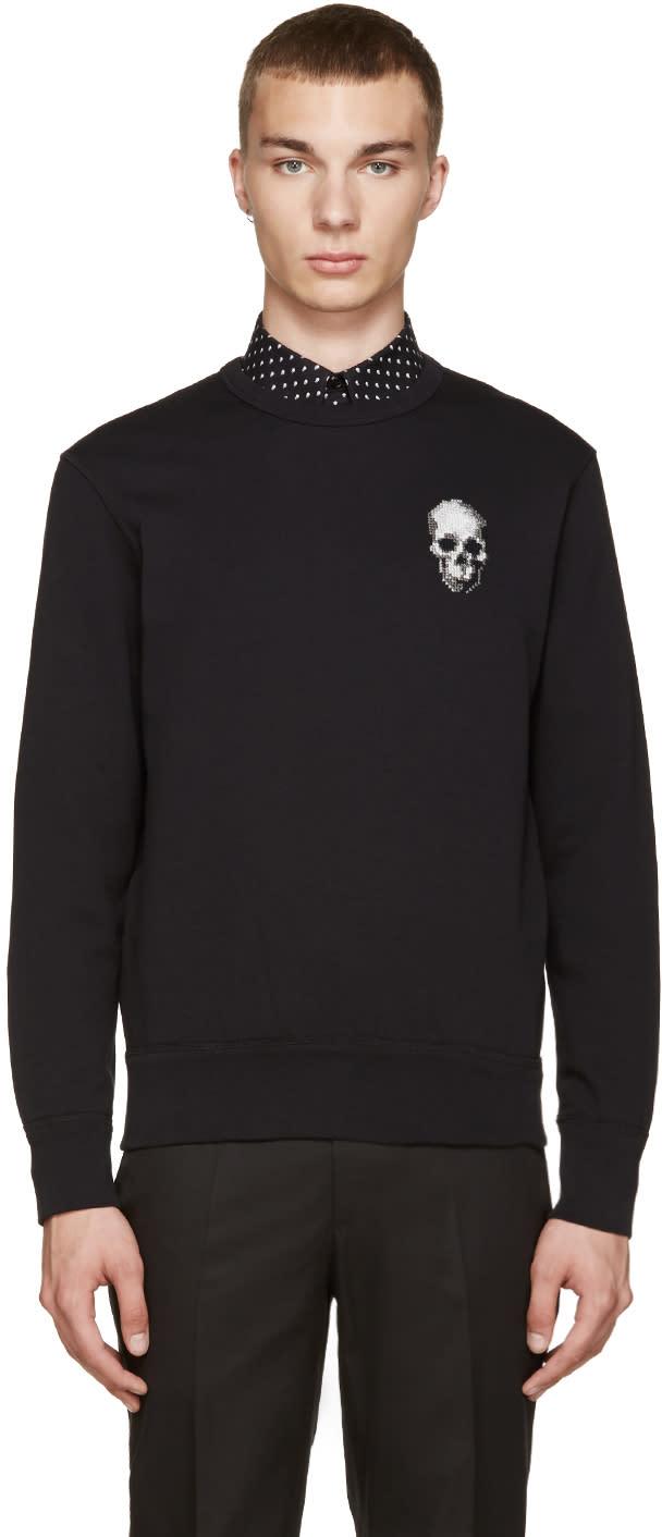 Alexander Mcqueen Black Embroidered Skull Pullover