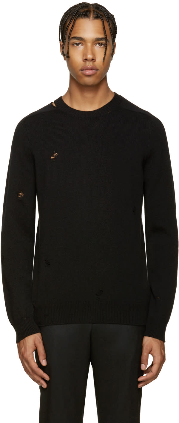 Alexander Mcqueen Black Cashmere Distressed Sweater