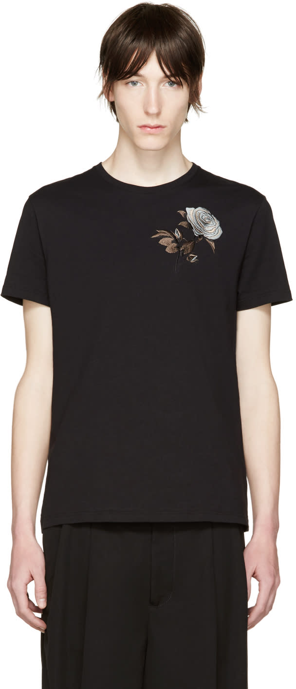 Alexander Mcqueen Black Embroidered Floral T-shirt