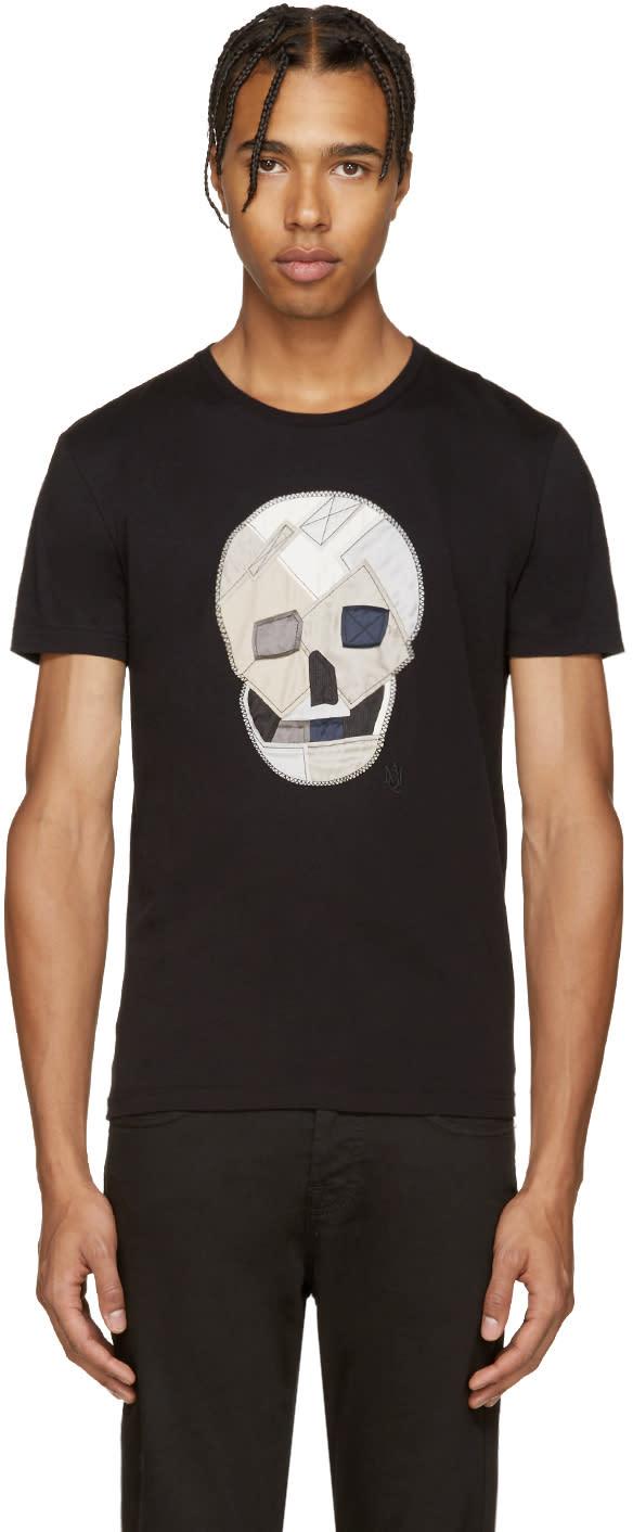 Alexander Mcqueen Black Patchwork Skull T-shirt