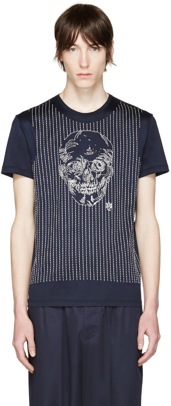 Alexander Mcqueen Navy Skull T-shirt