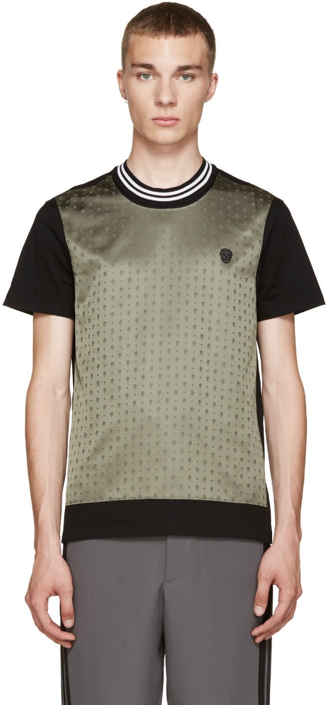 Alexander Mcqueen Black and Green Skull T-shirt