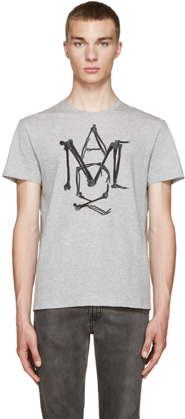 Alexander Mcqueen Grey Logo T-shirt