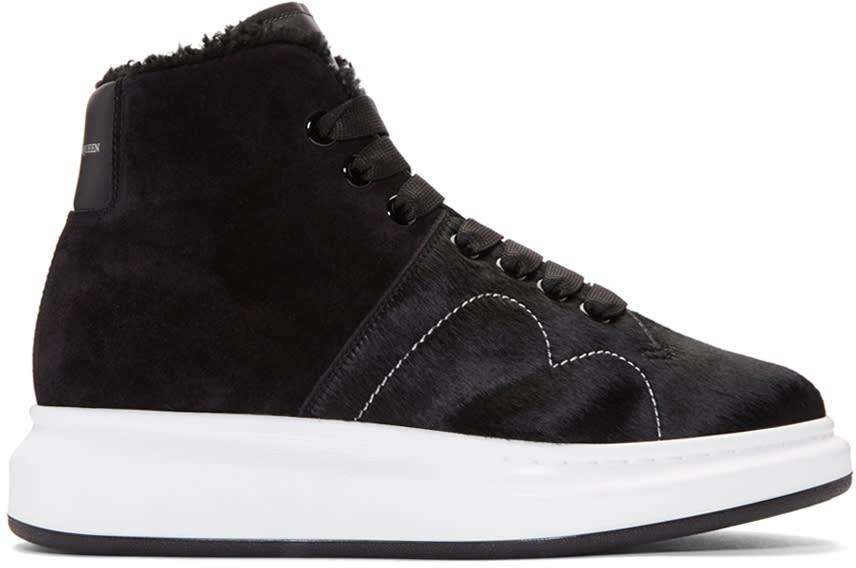 Alexander Mcqueen Black Calf-hair High-top Sneakers