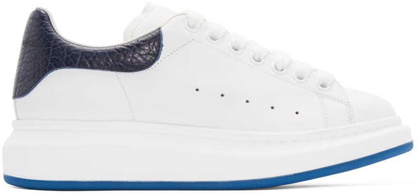 Alexander Mcqueen White and Navy Embossed Sneakers