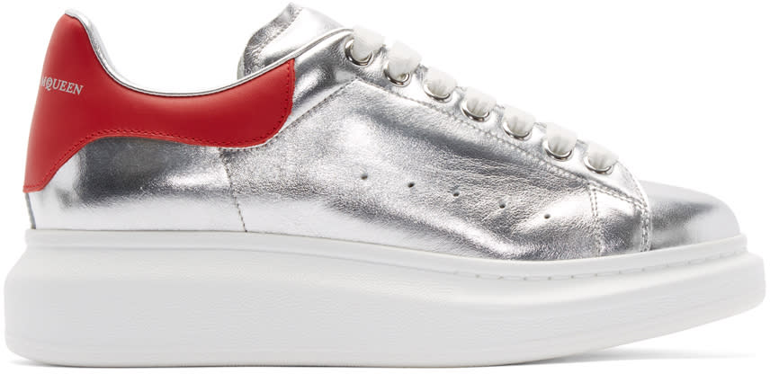 Alexander Mcqueen Silver and Red Leather Sneakers