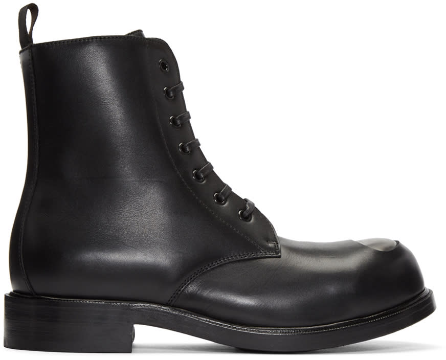 Alexander Mcqueen Black Steel Toe Boots