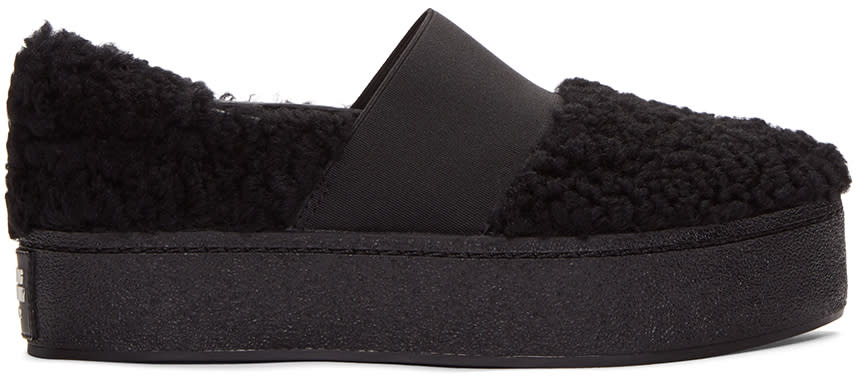 Opening Ceremony Black Shearling Cici Slip-on Sneakers