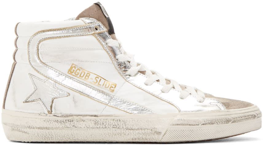 Golden Goose White and Silver Slide High-top Sneakers
