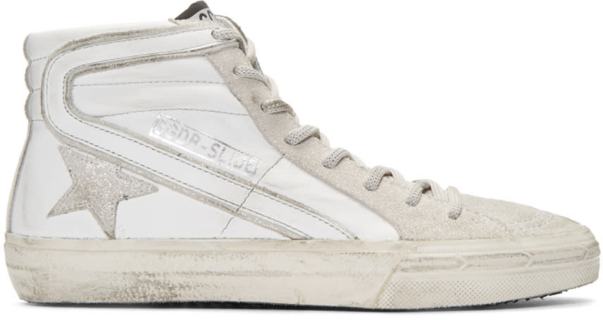 Golden Goose White and Silver Glitter High-top Sneakers