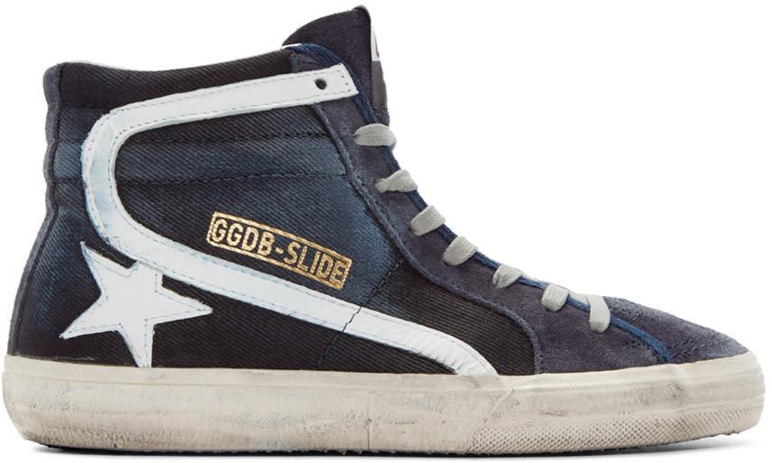 Golden Goose Blue Slide High-top Sneakers