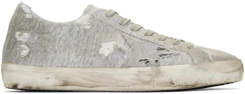 Golden Goose Grey Jersey Superstar Sneakers