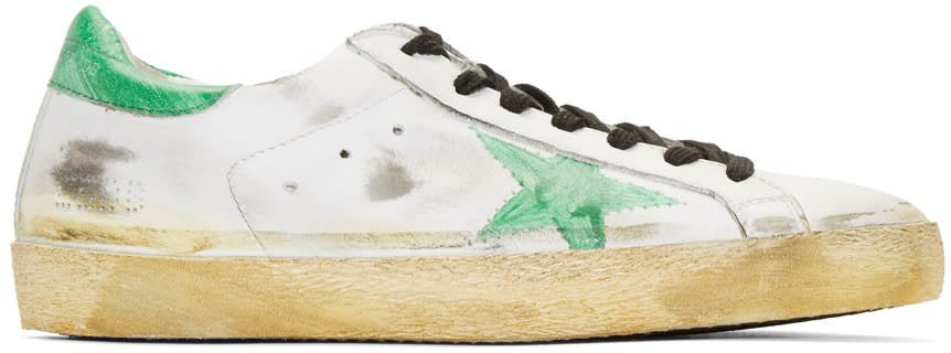 Golden Goose White Painted Superstar Sneakers