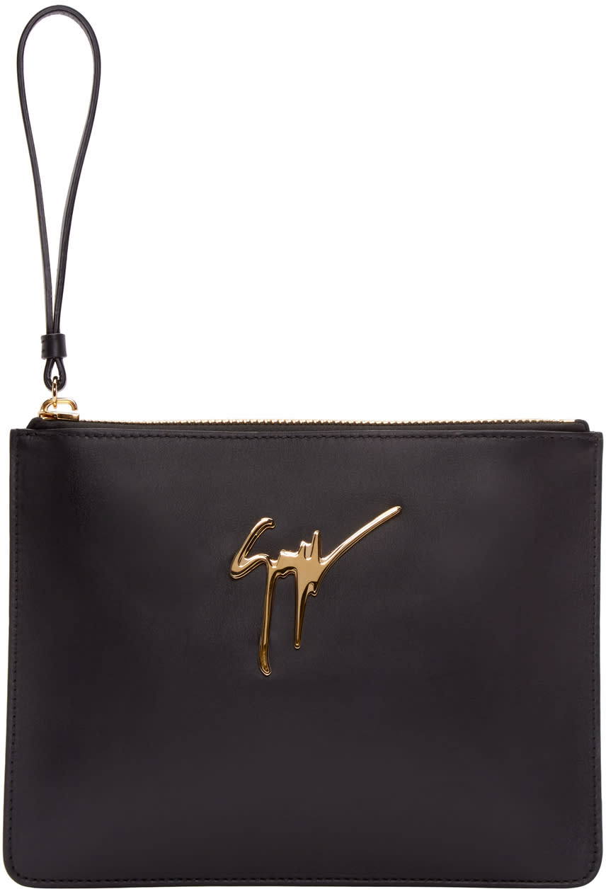 Giuseppe Zanotti Black Leather Zip Pouch