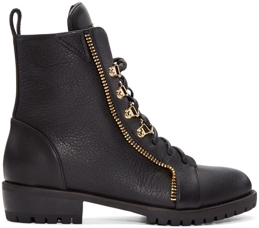 Giuseppe Zanotti Black Leather Zip Boots