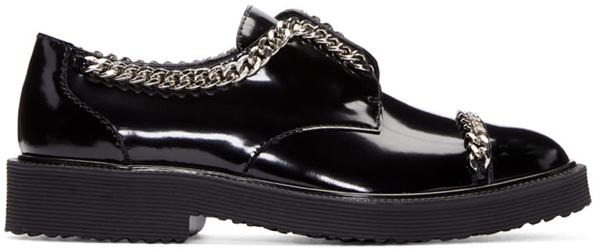 Giuseppe Zanotti Black Patent Leather Chain Derbys