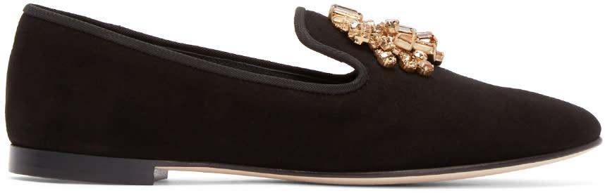 Giuseppe Zanotti Black Embellished Dalila Loafers
