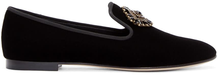 Giuseppe Zanotti Black Velvet Embellished Veronica Loafers