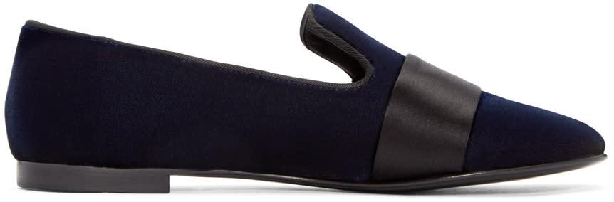 Giuseppe Zanotti Navy Velvet Loafers