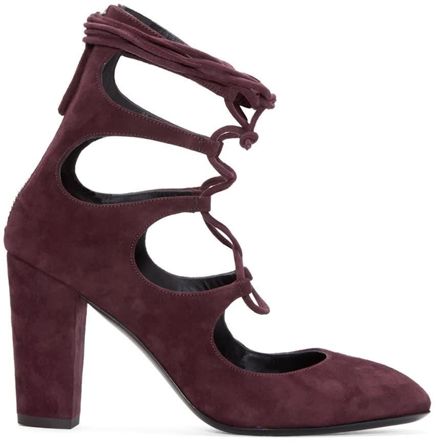 Giuseppe Zanotti Burgundy Suede Lace-up Heels