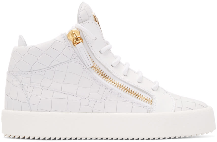 Giuseppe Zanotti White Croc-embossed London High-top Sneakers