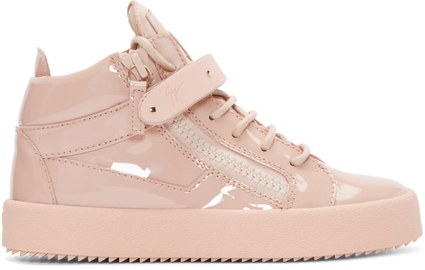Giuseppe Zanotti Pink Patent Leather London High-top Sneakers