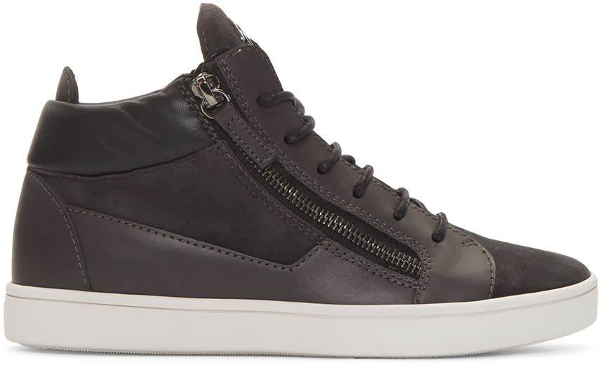 Giuseppe Zanotti Grey London Mid-top Sneakers