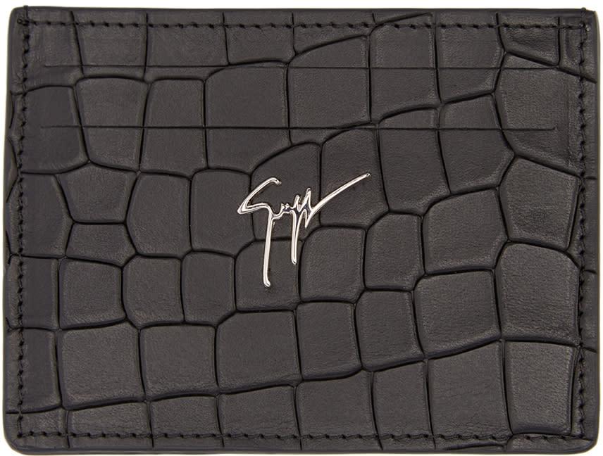 Giuseppe Zanotti Black Croc-embossed Card Holder