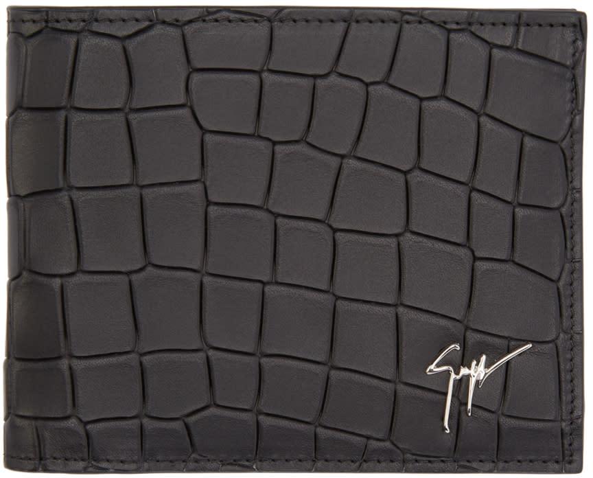 Giuseppe Zanotti Black Croc-embossed Wallet