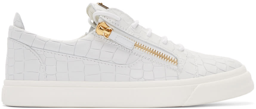 Giuseppe Zanotti White Croc-embossed London Sneakers