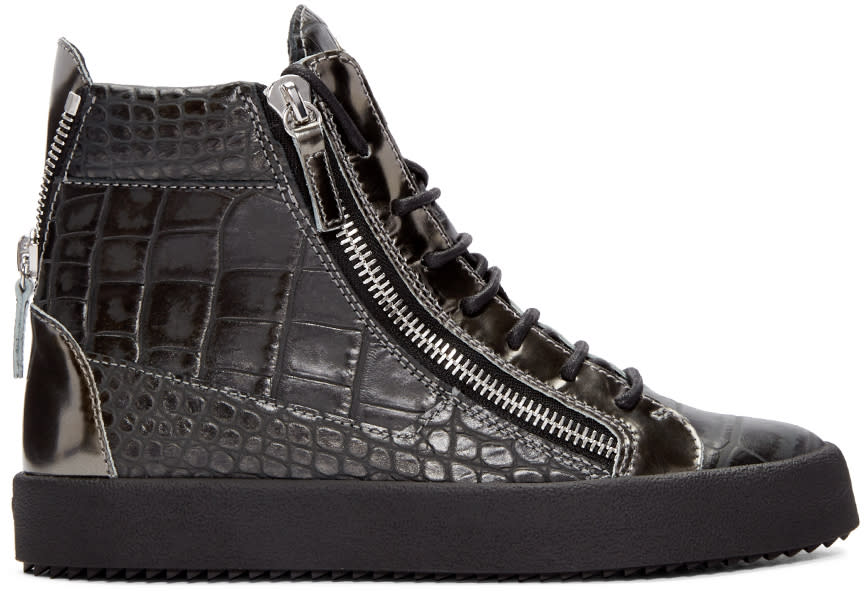 Giuseppe Zanotti Grey Croc-embossed London High-top Sneakers