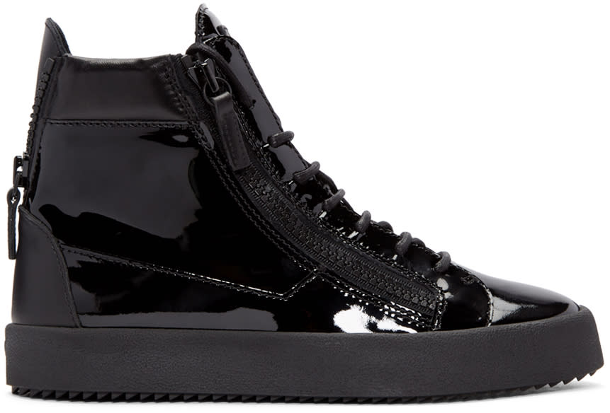 Giuseppe Zanotti Black Patent Leather London High-top Sneakers