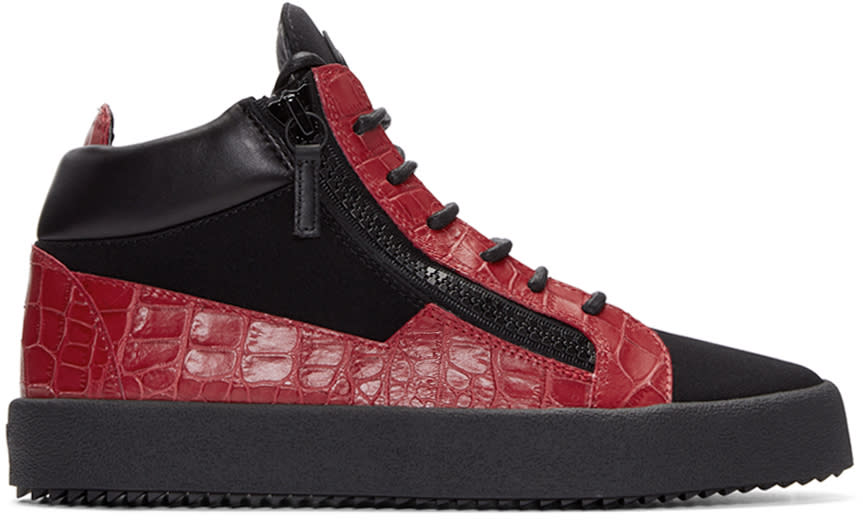 Giuseppe Zanotti Black and Red London High-top Sneakers