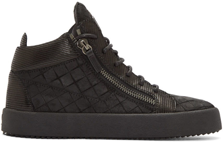 Giuseppe Zanotti Black Embossed London High-top Sneakers