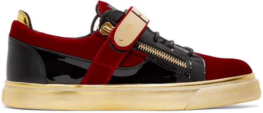 Giuseppe Zanotti Red and Black Velvet London Sneakers