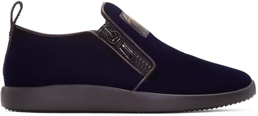 Giuseppe Zanotti Navy Velvet Slip-on Sneakers