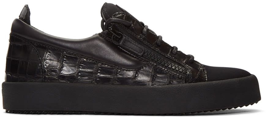 Giuseppe Zanotti Black Croc-embossed London Sneakers