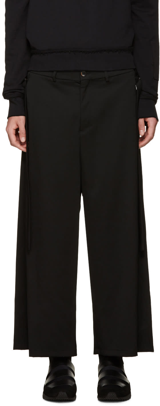 Damir Doma Black Wide-leg Wool Trousers