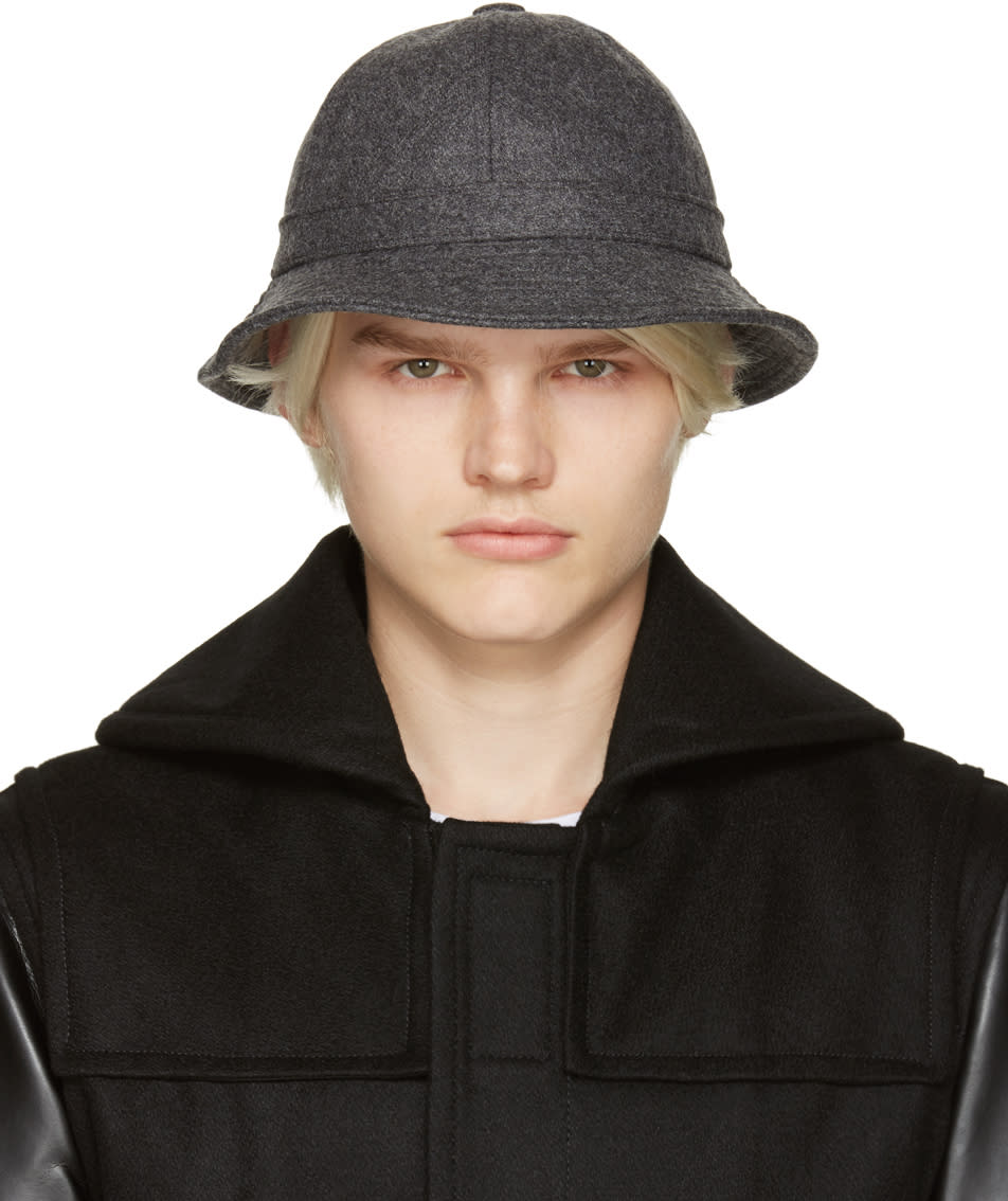 Comme Des Garcons Shirt Grey Wool Bucket Hat