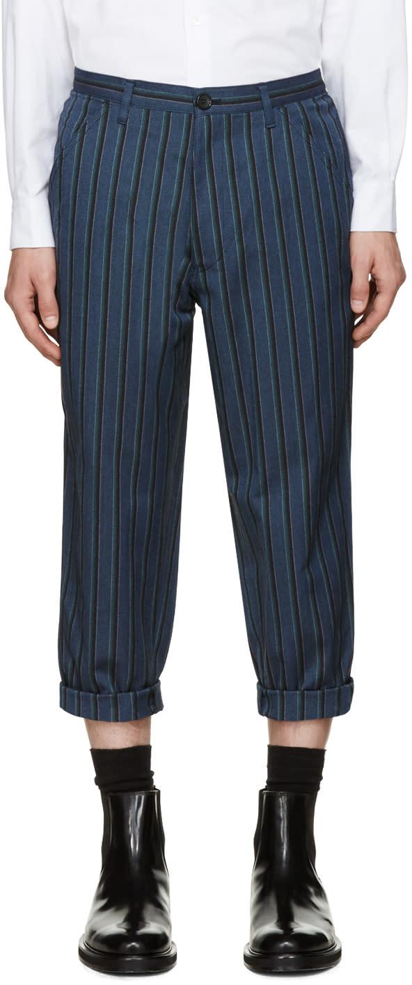 Comme Des Garcons Shirt Blue Striped Trousers