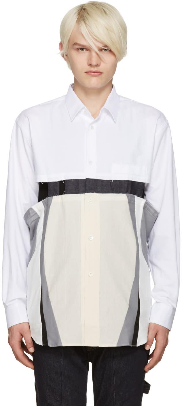 Comme Des Garcons Shirt White Cut-out Shirt