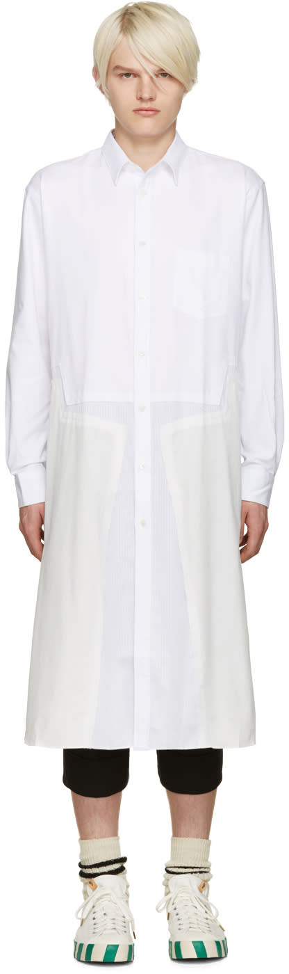 Comme Des Garcons Shirt White Panelled Tunic