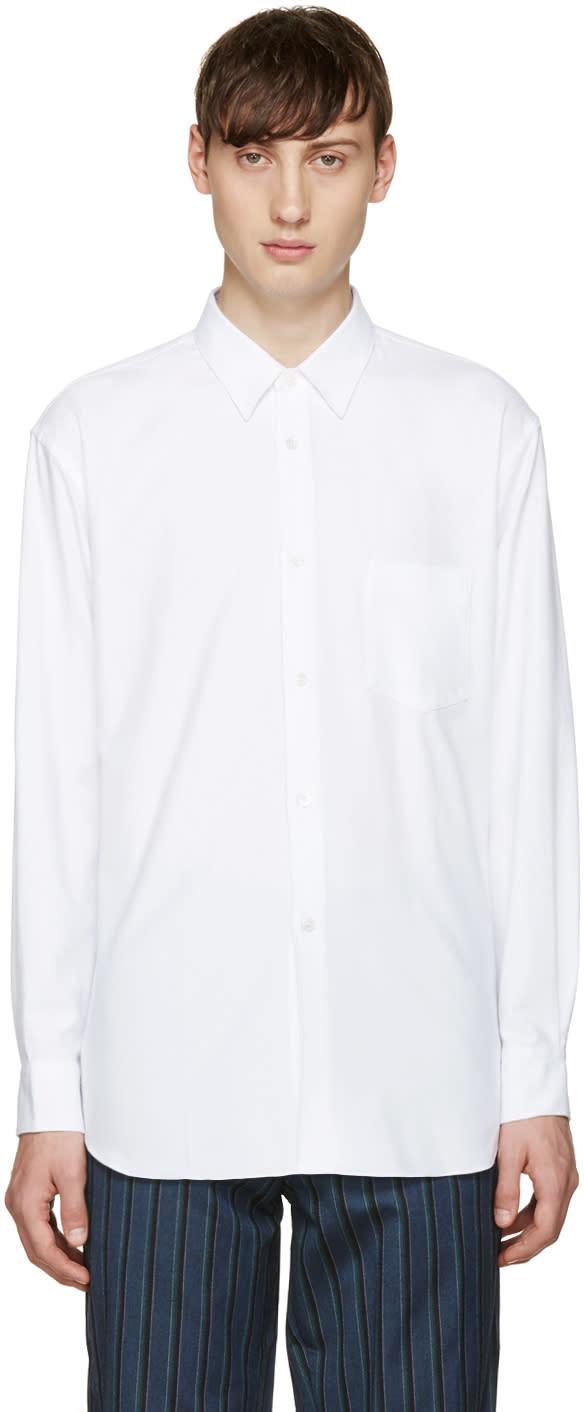 Comme Des Garcons Shirt White Brushed Cotton Shirt