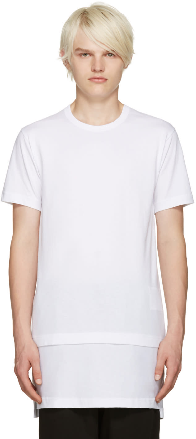 Comme Des Garcons Shirt White Layered T-shirt